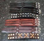 Genuine Leather Cuff Bracelets Mens Unisex Black Brown Adjustable Laces Buckles