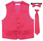 Boys Toddler Special Occasion Satin Vest + Bow Tie+ Tie Formal Wear 16 Colors