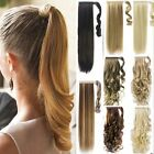 New 100% Real Thick Wrap Around Ponytail Clip In Hair Extensions Brown Blonde TQ