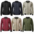 New Women Quilted Padded Bomber Puffer Ladies Zip Puffa Coat Jacket Ribbed Top