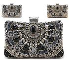 LADIES SMALL PEARL DIAMANTE JEWEL CRYSTAL EVENING PARTY WEDDING BRIDAL CLUTCH BA