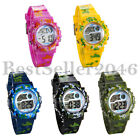 Sports Kids Wristwatch Boys Girls Alarms Multi-function Digital Camo Watches image