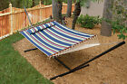 Nantucket Outdoor Patio Double 2-Person Quilted Cotton-Poly Hammock