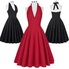 Lady Retro Vintage V-neck Halter Party Evening Swing 50's Housewife Dress Sale