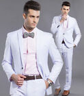New Mens Suit White Formal Dress One Button Slim Fit Suit Wedding Party Work