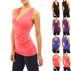 Womens Sleeveless V Neck Ruched Blouse Shirt Tank Top Evening Club Party Tops