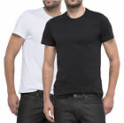 LEE New Men's 2 Pack Twin Black & White Slim Plain Basic Cotton T-Shirt Top