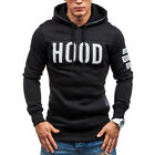 Classic Mens Long Sleeve Slim Fit Hooded Hoodies Sweatshirt Pullover Tops Jumper