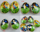 20 Cloisonne Enamel Peacock Oval Spacers 25x18mm 4colors-1 O62