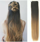 One Piece Straight Ombre Hairpieces Clip in Hair Extensions Black Blonde