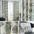 Pair Floral Leaf 100% Cotton Eyelet Ring Top Lined Curtains, Teal Duckegg Taupe