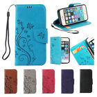 Butterfly Flip PU Leather Wallet Phone Case Cover For iPhone 6 7 Samsung Galaxy