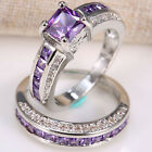 amethyst jewelry - Natural 2.5ct Amethyst 925 Silver Ring Set 2pcs Wedding Engagement Prom Size6-12