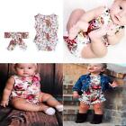 New 2pcs Baby Infant Girls Sleeveless Floral Rompers Sunsuit Bodysuit+Headband