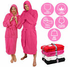 PINK HOODED BATHROBE 100% COTTON M L XL XXL XXXL XXXXL PRESENT GIFT MENS LADIES