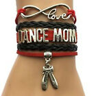 Infinity Love DANCE MOM With Dancing Boots Charms Leather Braided Bracelet