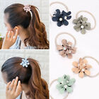 Fashion pearl flower head rope hair elastic hair jewelry Ponytail Holder