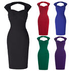 Women 50's Retro Fashion Bodycon Evening Party Cocktail Pencil Short Dress Black
