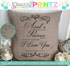 PERSONALISED MOTHERS DAY AUNT AUNTIE CUSHION CHRISTMAS PRESENT GIFT CANVAS