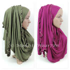 Cotton Jersey Beaded Hijab Scarf Shawl Wrap Islam Muslim Headcover 180X50 cm