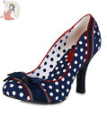 RUBY SHOO AMY riva POLKA DOT spots bow SHOES heels NAVY BLUE