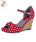 RUBY SHOO MOLLY limo POLKA DOT red white spots WEDGE wedges como SHOES