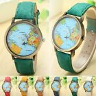 World Map Watch Airplane Moving Globe Atlas Analog Quart Travel Womens Kids Girl