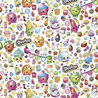 SHOPKINS  on white : 100% LICENSED cotton  : by the 1/2 metre