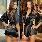 Women's dressing gown babydoll lace satin young girl reading sexy lingerie