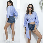 Hot New Summer Womens Butterfly Striped T-Shirt 3/4 Sleeve V-Neck Mini Blouse