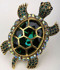 Big turtle brooch pin pendant bling jewelry gifts women her BA15 gold silver image