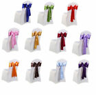 50 100 Satin Chair Cover Sash Bows Wedding Banquet Reception Decoration Party