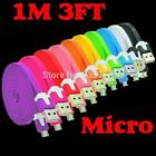 High Quality Colorful 5 Pin Noodle Flat Data charger Sync Micro USB for phones