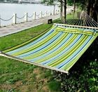 Double 2 Person Hammock Cotton Fabric W/ Pillow Spreader Bar Hanging Bed Swing