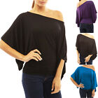 Womens Kimono 3/4 Sleeve One Shoulder Blouse Shirt Fashion Evening Cocktail Top