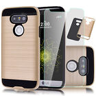 Gold Case For LG G5 Hybrid Armor Hard Protective Cover + Tempered Glass Film
