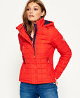 New Womens Superdry Hooded Box Quilt Fuji Jacket Bright Red