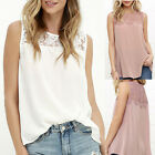 Women Ladies Summer Casual Sleeveless Chiffon Lace Vest T Shirt Blouse Tank Tops