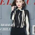 Women Striped Black and White Chiffon Professional Shirt OL Long Sleeve Blouse