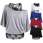Fashion Womens Bat Sleeve Shirt Tops Loose Blouse Ladies Lace Casual Summer Top