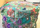 Indian Handmade Round Pouf Cover Vintage Cotton Otoman Patchwork Footstool Green