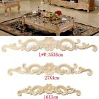 2/4PCS  Wood Carved Long Onlay Applique Unpainted Flower Furniture Door Decor