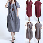 Chic Womens Casual Short Sleeve Loose Lady Linen Round-Neck Retro Dresses Summer