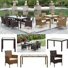 iKayaa Rattan Patio Dining Table&Chairs Set Garden Furniture Soft Cushions R0W3