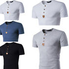Newest Mens Slim Fit Pullover neck T-shirt Short Sleeve Muscle Tee Size S M L XL