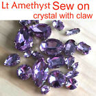 Lt violet Sew On Foiled Crystal flatback square/teardro​p Rhinestone Jewels bead
