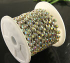 SS28 SS38 6mm 8mm Crystal Clear/ ab Rhinestone cup Chain Trim Silver/gold 1yard