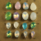 12p white/pink opal rhinestones Sew On Glass Crystal teardrop/oval Multi size