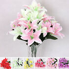 New Silk Flower Artificial Lilies Bouquet 10 Heads Home Wedding Floral Decor t6