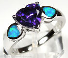 Heart Amethyst & Blue Fire Opal Inlay 925 Sterling Silver Ring size 6 7 8 9